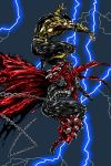 2boys black_gloves byakuren_(midwood) cape chains claws commentary crossover demon fingerless_gloves gauntlets gloves glowing glowing_eyes green_eyes highres image_comics male_focus mask mortal_kombat multiple_boys muscle ninja no_pupils red_eyes scorpion_(mortal_kombat) spawn spawn_(spawn) spikes superhero thunder
