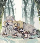 1girl absurdres animal_ears bodysuit byakko_(xenoblade) cat_ears facial_mark gloves grey_hair highres nintendo niyah on_animal sleeping snow tiger tree white_gloves white_tiger xenoblade_(series) xenoblade_2
