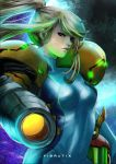 1girl arm_cannon blonde_hair blue_bodysuit bodysuit commentary english_commentary high_ponytail looking_at_viewer metroid nintendo pink_lips ponytail power_armor power_suit samus_aran skin_tight varia_suit vibratix weapon zero_suit