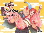 1boy 1girl 2019 :d bead_bracelet beads big_mouth bracelet carrying commentary_request copyright_request cowboy_shot earrings floral_print grin hand_on_another's_shoulder happy_new_year japanese_clothes jewelry kimono long_hair long_sleeves looking_at_viewer new_year no_eyebrows obi open_mouth outstretched_arm pattern_request patterned_background pink_kimono princess_carry print_kimono raised_fist red_eyes redhead sanpaku sash shoe_soles sidelocks smile standing teeth upper_teeth wide_sleeves yellow_background