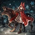 1girl animal animal_hood bag bangs black_gloves boots breath brown_eyes buckle cloak fire footprints fur fur_trim gloves holding holding_lantern hood house lantern little_red_riding_hood little_red_riding_hood_(grimm) messenger_bag original pantyhose paw_print senano-yu shoulder_bag snow snowflakes snowing stitches tree walking window wolf yellow_eyes