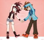 1boy 1girl :d belt black_(pokemon) black_legwear black_pants black_vest black_wristband blue_shorts blue_sweater brown_hair character_name collaboration commentary_request creatures_(company) denim denim_shorts full_body game_freak happy heart_arms long_hair long_sleeves looking_at_viewer luo-qin mei_(pixiv9154263) nintendo open_mouth pants pink_background pokemon pokemon_special ponytail shirt shoelaces shoes short_shorts shorts sidelocks simple_background sleeveless sleeveless_shirt smile socks spiky_hair standing sweater tied_hair vest white_(pokemon) white_shirt wristband