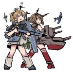2girls aircraft airplane black_shirt blue_eyes brown_hair flight_deck gloves grey_neckwear gun hairband headgear intrepid_(kantai_collection) kantai_collection m1903_springfield machinery miniskirt multiple_girls mutsu_(kantai_collection) ponytail radio_antenna red_legwear rifle rigging rudder_footwear shirt short_hair skirt terrajin weapon white_gloves world_war_ii