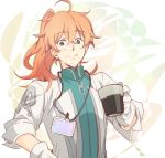 1boy abstract_background ahoge blush chaldea_uniform cup eyebrows_visible_through_hair fate/grand_order fate_(series) gloves green_eyes hand_up high_collar highres holding holding_cup id_card labcoat looking_at_viewer messy_hair orange_hair ponytail romani_archaman sketch smile solo upper_body white_background white_gloves wing_collar yuki_1217k