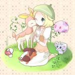 1girl bel_(pokemon) blonde_hair blush character_request commentary_request creatures_(company) game_freak grass green_eyes hat nashi_rin nintendo poke_ball pokemon pokemon_(creature) pokemon_(game) pokemon_bw short_hair