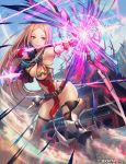 1girl aiming arrow bangs blue_eyes blue_panties blue_sky bow_(weapon) breasts brown_legwear chains chloris_garden day dust energy_weapon glint gloves holding holding_bow_(weapon) holding_weapon leaning_forward legs_apart lens_flare long_hair medium_breasts metal_boots no_bra official_art outdoors panties parted_bangs partly_fingerless_gloves pelvic_curtain red_gloves remana side-tie_panties sky smile solo standing tassel thigh-highs thong underwear very_long_hair watermark weapon