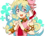 +_+ :d blonde_hair blue_hair cloud_hair curly_hair dress fingers_together koma_saburou looking_at_viewer multicolored_hair nia_teppelin open_mouth pink_dress smile tengen_toppa_gurren_lagann upper_body