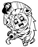 1girl animal_ears animal_print arms_up bare_legs beads bkub blush boomerang cham_cham commentary eyebrows_visible_through_hair facing_viewer fang full_body gloves greyscale hair_beads hair_ornament highres holding long_hair monkey monochrome open_mouth paw_gloves paw_shoes paws samurai_spirits shoes simple_background sleeveless snk solo standing standing_on_one_leg tail tiger_ears tiger_girl tiger_paws tiger_print tiger_stripes tiger_tail white_background