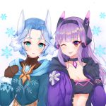 2girls absurdres animal_ear_fluff animal_ears bandeau bangs black_choker black_hairband black_mittens blue_hair blue_jacket blush breasts brooch brown_mittens brown_sweater character_request choker cleavage closed_mouth collarbone commentary_request crop_top epic7 eyebrows_visible_through_hair hairband hand_up head_tilt headgear highres hood hooded_jacket jacket jewelry lebring long_hair long_sleeves looking_at_viewer medium_breasts mittens multiple_girls one_eye_closed open_clothes open_jacket parted_bangs parted_lips purple_hair purple_jacket ribbed_sweater short_hair side-by-side sidelocks smile snowflakes stomach sweater tongue tongue_out turtleneck turtleneck_sweater upper_body white_background zipper