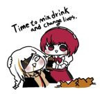 2girls blush commentary_request crossover dorothy_(va-11_hall-a) drunk english_text eyepatch feeding girls_frontline headband jack_daniel's lowres m16a1_(girls_frontline) madcore multiple_girls open_mouth pink_hair ponytail va-11_hall-a white_hair