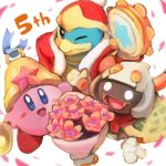2boys 5 anniversary bell blue_eyes blush_stickers cape closed commentary_request copy_ability disembodied_limb extra_eyes extra_hands fangs flower glowing glowing_eyes horns instrument king_dedede kirby kirby:_triple_deluxe kirby_(series) multiple_boys nintendo no_arms no_humans number official_art one_eye_closed petals red_neckwear robe scarf simple_background star tambourine taranza white_background white_eyes white_hair yellow_eyes