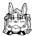 1other :3 ambiguous_gender animal_ears bangs barefoot bkub blunt_bangs blush blush_stickers claws commentary ears_through_headwear eyebrows_visible_through_hair fangs full_body fur furry greyscale hair_ornament helmet horizontal_pupils horned_helmet made_in_abyss monochrome nanachi_(made_in_abyss) rabbit_ears sidelocks simple_background sitting solo tail whiskers white_background