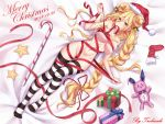 1girl artist_name bed_sheet bell blonde_hair blush bow box breasts christmas cleavage commentary_request date_a_live dated doll double_bun from_above gift gift_box hair_between_eyes hat highres hoshimiya_mukuro large_breasts long_hair looking_at_viewer lying merry_christmas mouth_hold naked_ribbon on_back on_bed red_ribbon ribbon ribbon_in_mouth santa_hat socks solo star striped striped_legwear thigh-highs tsubasaki very_long_hair yellow_eyes