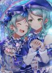 2girls :d ^_^ alternate_hairstyle aqua_hair arm_around_waist ascot bang_dream! beret blue_bow blue_hat blue_neckwear blush bow braid closed_eyes closed_eyes constellation_hair_ornament constellation_print double-breasted earrings frilled_shirt_collar frills green_eyes hair_bow hair_over_shoulder hand_on_another's_waist hat hat_bow highres hikawa_hina hikawa_sayo incest jewelry long_hair long_sleeves looking_at_another mia_(fai1510) multiple_girls neck_ribbon open_mouth ribbon short_hair shoulder_cutout siblings side_braids single_braid sisters smile striped striped_bow striped_neckwear twincest twins upper_body yuri