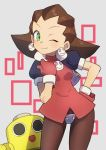 1girl brown_hair capcom crotch_plate earrings gazacy_(dai) green_eyes hair_pulled_back hairband highres jewelry kobun looking_at_viewer marvel_vs._capcom one_eye_closed open_mouth pink_hairband robot rockman rockman_dash short_hair simple_background skull smile solo tron_bonne