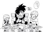 2boys :d armor black_eyes black_hair broly_(dragon_ball_super) cheelai chewing crab dragon_ball dragon_ball_super dragon_ball_super_broly eating eyelashes food glass happy hat highres holding holding_food lee_(dragon_garou) lemo_(dragon_ball) looking_down male_focus monochrome multiple_boys muscle open_mouth plate puffy_cheeks scar short_hair simple_background sitting smile speech_bubble spiky_hair spoon table translation_request upper_body white_background