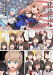6+girls akagi_(kantai_collection) american_flag bangs bare_shoulders black_hair black_neckwear blue_eyes blunt_bangs blush breasts brown_eyes brown_hair comic commentary eyebrows_visible_through_hair fubuki_(kantai_collection) gloves hair_ribbon hand_on_own_chin hand_on_shoulder hat hatsuyuki_(kantai_collection) highres hyuuga_(kantai_collection) intrepid_(kantai_collection) japanese_clothes johnston_(kantai_collection) kantai_collection kusaka_souji light_blue_hair long_hair long_sleeves miyuki_(kantai_collection) multiple_girls open_mouth ponytail ribbon sailor_collar samuel_b._roberts_(kantai_collection) school_uniform serafuku short_hair single_glove skirt smile sweat sweatdrop trait_connection translation_request waving