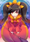 1girl ashley_(warioware) bangs black_hair breasts broom character_name commentary_request dress eyes_visible_through_hair hair_ornament kujou_mikuru long_hair long_sleeves looking_at_viewer nintendo open_mouth red_dress red_eyes sailor_collar sidelocks skull small_breasts solo twintails very_long_hair warioware yellow_sailor_collar