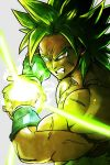 1boy annoyed attack attacking_viewer broly_(dragon_ball_super) clenched_teeth close-up dragon_ball dragon_ball_super_broly energy_ball frown green_hair grey_background male_focus muscle orange_eyes scar shirtless short_hair simple_background spiky_hair st62svnexilf2p9 super_saiyan teeth upper_body wristband