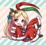 1girl :d antlers bangs bell blonde_hair blue_ribbon blush_stickers brown_footwear chibi commentary_request diagonal-striped_background diagonal_stripes dress eyebrows_visible_through_hair forehead full_body fur-trimmed_dress fur-trimmed_sleeves fur_trim green_ribbon hair_bell hair_ornament hair_ribbon long_hair long_sleeves looking_at_viewer lowres marshmallow_mille monster_strike open_mouth pandora_(monster_strike) parted_bangs red_dress red_eyes red_ribbon reindeer_antlers ribbon sleeves_past_fingers sleeves_past_wrists smile solo star striped striped_background twitter_username very_long_hair wide_sleeves