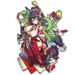 1girl animal_ears bangs black_hair breasts crossed_bangs dog dog_ears hair_ornament hakama japanese_clothes large_breasts last_period looking_at_viewer official_art red_hakama smile solo standing thick_eyebrows transparent_background whoopin