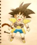 1boy :d armor arms_at_sides black_eyes black_hair blush boots commentary_request dragon_ball dragon_ball_super_broly fingernails full_body happy looking_away male_focus masa_(p-piyo) open_mouth shadow short_hair simple_background smile son_gokuu spiky_hair standing tail twitter_username white_background