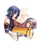 1boy 1girl aqua_(kingdom_hearts) blue_eyes blue_hair blush closed_eyes detached_sleeves fingerless_gloves gloves hand_holding hand_on_another's_head kingdom_hearts kingdom_hearts_birth_by_sleep light_blush looking_at_another looking_down mim_(mimya0600) parted_lips riku short_hair silver_hair sleeveless smile strap upper_body wristband younger zipper