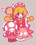 2girls blonde_hair bow braid card_captor_sakura crown dress earrings elbow_gloves gloves grey_eyes hoshi_no_tsue jewelry long_hair mario_(series) multiple_girls new_super_mario_bros._u_deluxe nintendo parody peachette pink_dress puffy_short_sleeves puffy_sleeves shoes short_sleeves smile super_crown toadette twin_braids wand