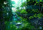 2019 artist_name bridge building canal chair cityscape commentary_request day fantasy grass highres huge_filesize no_humans original outdoors overgrown railing real_world_location ruins scenery stairs sunlight table tokyo_(city) tokyogenso tree tree_shade