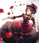 1girl absurdres alswp5806 bangs bare_shoulders black_skirt black_sleeves black_tea_(food_fantasy) blurry blurry_foreground blush breasts brown_hair brown_hat closed_mouth commentary_request depth_of_field detached_sleeves dual_wielding eyebrows_visible_through_hair flower food_fantasy gun handgun hat hat_flower highres holding holding_gun holding_weapon juliet_sleeves layered_skirt long_hair long_sleeves medium_breasts petals pistol pleated_skirt puffy_sleeves red_eyes red_flower red_rose revolver rose skirt smile solo strapless striped_sleeves weapon white_background