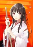 1girl :d absurdres bamboo_broom bangs blurry blurry_background blush broom brown_hair commentary_request depth_of_field eyebrows_visible_through_hair hachimitsu_honey hair_ribbon hakama highres holding holding_broom japanese_clothes kimono long_hair long_sleeves miko open_mouth original red_eyes red_hakama red_ribbon ribbon ribbon-trimmed_sleeves ribbon_trim short_kimono smile solo upper_body white_kimono wide_sleeves