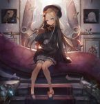 1girl abigail_williams_(fate/grand_order) bangs black_bow black_dress black_footwear black_hat blonde_hair blue_eyes bow bug butterfly dress fate/grand_order fate_(series) floating_hair hair_bow hat highres holding holding_stuffed_animal indoors insect lavinia_whateley_(fate/grand_order) long_hair mary_janes orange_bow parted_bangs sachi_(160332) shoes short_dress short_shorts shorts shorts_under_dress sitting sleeves_past_wrists solo stairs stuffed_animal stuffed_toy teddy_bear very_long_hair white_shorts