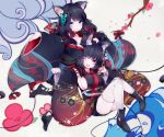 2girls animal_ear_fluff animal_ears azur_lane between_breasts black_hair black_kimono blue_eyes bob_cut boots branch breasts butterfly_hair_ornament cat_ears cleavage detached_sleeves eyebrows_visible_through_hair flower fox_mask fusou_(azur_lane) hair_ornament hand_on_another's_head head_between_breasts highres japanese_clothes kimono large_breasts long_hair mask multiple_girls one_eye_closed red_eyes short_hair short_kimono siblings sideboob sisters thigh-highs waves white_legwear wide_sleeves yaekn yamashiro_(azur_lane) zettai_ryouiki