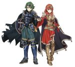 1boy 1girl absurdres alm_(fire_emblem) armor breasts cape celica_(fire_emblem) cleavage closed_mouth earrings ebinku fingerless_gloves fire_emblem fire_emblem_echoes:_mou_hitori_no_eiyuuou gloves green_eyes green_hair hand_holding highres jewelry long_hair medium_breasts nail_polish nintendo red_eyes redhead scabbard sheath sheathed shield short_hair simple_background smile sword weapon white_background