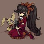 1girl ashley_(warioware) bangs black_hair black_legwear brown_background doll dress hair_ornament long_hair long_sleeves looking_at_viewer nintendo pixel_art red_dress red_eyes red_footwear sailor_collar seiza sidelocks simple_background sitting skull solo spoon twintails very_long_hair warioware yamipika yellow_sailor_collar