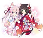 2girls animal_ears azur_lane bell brown_hair cat_ears cat_tail dango floral_print flower food green_eyes hair_flower hair_ornament japanese_clothes jingle_bell kimono kisaragi_(azur_lane) long_hair multiple_girls mutsuki_(azur_lane) new_year obi open_mouth pig pink_eyes pink_hair pink_kimono red_kimono ribbon sash short_hair smile tail tsukimi_(xiaohuasan) twintails wagashi