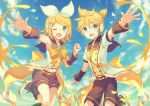 1boy 1girl ;d armpits bangs black_legwear black_sailor_collar black_shorts black_sleeves blonde_hair blue_eyes blue_sky bow brother_and_sister choke_(amamarin) clouds day detached_sleeves eyebrows_visible_through_hair hair_between_eyes hair_bow hairband headphones headset kagamine_len kagamine_rin leg_up leg_warmers looking_at_viewer microphone midriff navel one_eye_closed one_side_up open_mouth outdoors outstretched_arm outstretched_arms parted_bangs petals ribbon sailor_collar short_hair short_shorts short_sleeves shorts siblings sky smile standing standing_on_one_leg stomach vocaloid white_bow white_footwear white_hairband yellow_neckwear yellow_ribbon