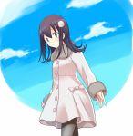1girl clouds coat from_side hakka0320 looking_at_viewer pantyhose satozaki_kiko solo watashi_ga_motenai_no_wa_dou_kangaetemo_omaera_ga_warui!