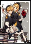 1boy 1girl :d bangs black_capelet black_footwear black_gloves black_hat black_pants black_skirt blonde_hair blue_eyes book brother_and_sister capelet girl_on_top gloves hair_between_eyes hair_ornament hairclip hat holding holding_feather kagamine_len kagamine_rin looking_at_viewer military military_uniform miniskirt necktie open_book open_mouth pants parted_bangs short_hair siblings sitting sitting_on_person skirt smile suzunosuke_(sagula) thigh_strap uniform vocaloid white_legwear yellow_neckwear