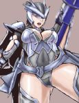 1girl armor ass black_hair bracer breasts cleavage covered_navel earth_defense_force earth_defense_force_2025 full_body gloves gluteal_fold gun headgear helmet mechanical_wings medium_breasts open_mouth pauldrons short_hair simple_background solo thighs weapon wing_diver wings
