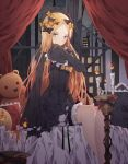 1girl abigail_williams_(fate/grand_order) bangs bed_sheet black_bow black_dress black_hat blonde_hair blue_eyes bow candle dress fate/grand_order fate_(series) frilled_sleeves frills hair_bow hat highres indoors kim_jin_(tmxhfl4490) long_hair looking_at_viewer orange_bow parted_bangs short_dress short_shorts shorts shorts_under_dress sitting sleeves_past_wrists solo stuffed_animal stuffed_toy teddy_bear very_long_hair white_shorts