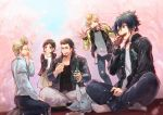 1girl 4boys :3 adjusting_eyewear alternate_costume black_hair blonde_hair bottle brother_and_sister brown_hair camera can carbuncle_(final_fantasy) casual cherry_blossoms closed_eyes coca-cola collarbone eating facial_hair final_fantasy final_fantasy_xv gladiolus_amicitia glass_bottle glasses ignis_scientia indian_style iris_amicitia jacket looking_at_another multiple_boys noctis_lucis_caelum obentou picnic prompto_argentum rayu scar short_hair siblings sitting smile soda_can spiky_hair suspenders tree