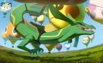 balloon blue_sky commentary creature creatures_(company) day english_commentary game_freak gen_1_pokemon gen_3_pokemon gen_4_pokemon gen_5_pokemon grass hobermen jellicent legendary_pokemon meowth mudkip munna nintendo outdoors perspective pikachu pokemon pokemon_(creature) rayquaza rotom sky solosis