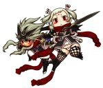 1boy 1girl black_gloves checkered checkered_legwear chibi closed_mouth dagger dual_wielding facial_mark gloves hair_between_eyes holding holding_dagger holding_weapon kaieda_hiroshi long_hair original red_eyes red_scarf scarf short_eyebrows thigh-highs transparent_background twintails weapon