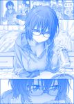 1girl bed beer_can blue blush breasts can cleavage commentary commentary_request flying_sweatdrops getsuyoubi_no_tawawa glasses himura_kiseki hood hooded_sweater hoodie indoors kakyou-san_(tawawa) large_breasts looking_at_viewer looking_away monochrome pov short_hair solo_focus sweat sweater