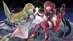 2girls armor blonde_hair blush breasts earrings hand_holding headpiece highres hikari_(xenoblade_2) holding holding_sword holding_weapon homura_(xenoblade_2) jewelry large_breasts long_hair multiple_girls nintendo red_eyes redhead sarasadou_dan short_hair space stratosphere sword thighs weapon xenoblade_(series) xenoblade_2 yellow_eyes