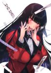 1girl bangs black_hair black_neckwear blunt_bangs blush breasts card checkered checkered_skirt collared_shirt commentary_request covered_nipples falling_card finger_in_mouth fingers_to_cheeks hime_cut jabami_yumeko jacket jewelry kakegurui large_breasts lips long_hair nail_polish open_mouth playing_card red_eyes red_jacket red_nails ring saliva school_uniform shirt skirt solo tamyfull tongue white_shirt