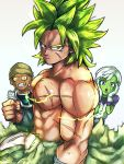 1girl 2boys :o abs arm_at_side armor broly_(dragon_ball_super) cheelai clenched_hand close-up dragon_ball dragon_ball_super_broly fingernails frown gloves green_hair grey_background hands_on_own_cheeks hands_on_own_face hat lemo_(dragon_ball) looking_at_viewer multiple_boys muscle nervous orange_eyes scar serious shirtless short_hair simple_background spiky_hair st62svnexilf2p9 standing sweatdrop upper_body violet_eyes white_gloves white_hair yellow_eyes