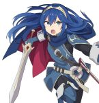 1girl aki_poi blue_eyes blue_hair blush cape falchion_(fire_emblem) fingerless_gloves fire_emblem fire_emblem:_kakusei gloves long_hair looking_at_viewer lucina nintendo open_mouth short_hair simple_background solo super_smash_bros. super_smash_bros._ultimate sword tiara weapon white_background