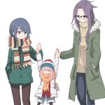 3girls age_difference arm_swinging bangs_pinned_back beanie black-framed_eyewear blue_hair blush commentary_request denim denim_shorts eyebrows_visible_through_hair fur_trim glasses hair_between_eyes hat hood hood_down hooded_jacket jacket jeans jitome kagamihara_nadeshiko kagamihara_sakura long_hair long_sleeves low_twintails multiple_girls orange_scarf pants pink_hair purple_hair ribbed_sweater scarf shima_rin shiroshi_(denpa_eshidan) shorts striped striped_scarf sweater swinging twintails very_long_hair violet_eyes winter_clothes younger yuri yurucamp